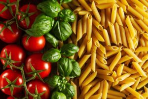Tomatoes, Basil Leaves and Pasta Noodles